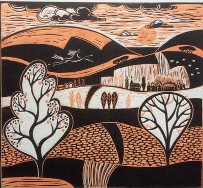 Diana Croft - The Horse on the Hill, linocut