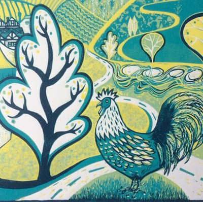 Diana Croft - Town and Country, linocut