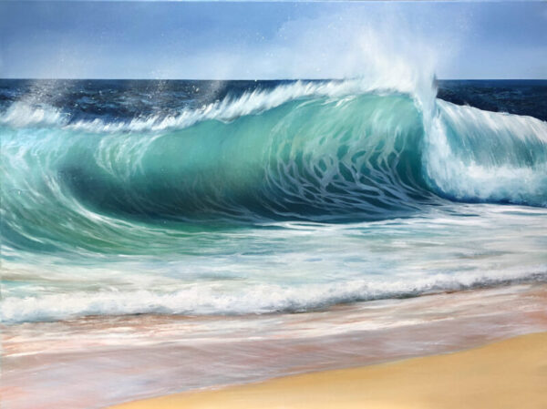 Emerald Beach Wave Original oil on canvas painting for sale. Width 102cm x Height 76cm or 40 x 30 inches. Signed. Unframed. With a certificate of authenticity.
