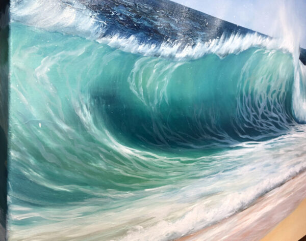 Emerald Beach Wave detail of an Original oil on canvas painting for sale. Width 102cm x Height 76cm or 40 x 30 inches. Signed. Unframed. With a certificate of authenticity.