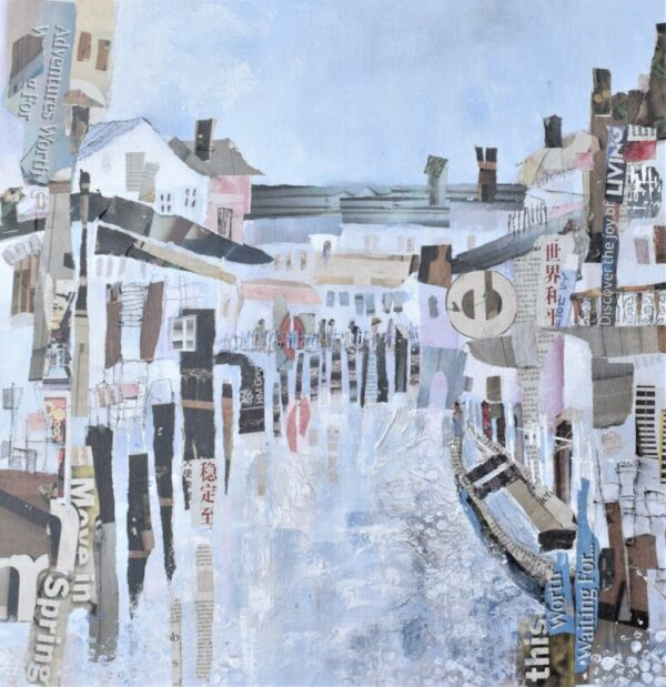 cityscape, mixed media painting on canvas