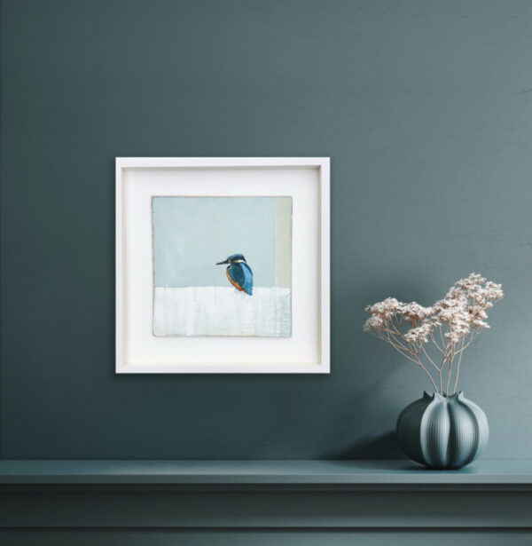 kingfisher painting in a home setting