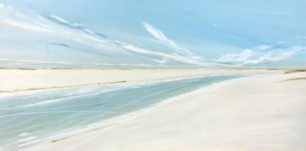 beach painting with blue sky and sand