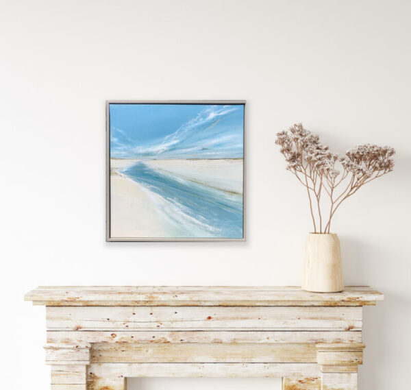 beach painting on a white wall