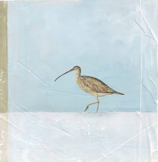 curlew painting green grey blue