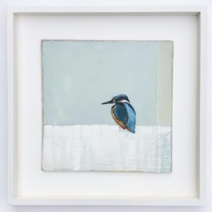 oil painting of a kingfisher with a pale green and white background
