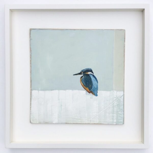 painting of a kingfisher with green and white background