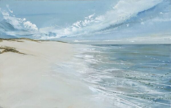 beach painting with blue sky clouds sea sand dunes