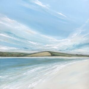 painting of the Camel Estuary in Cornwall sky clouds land sea sand