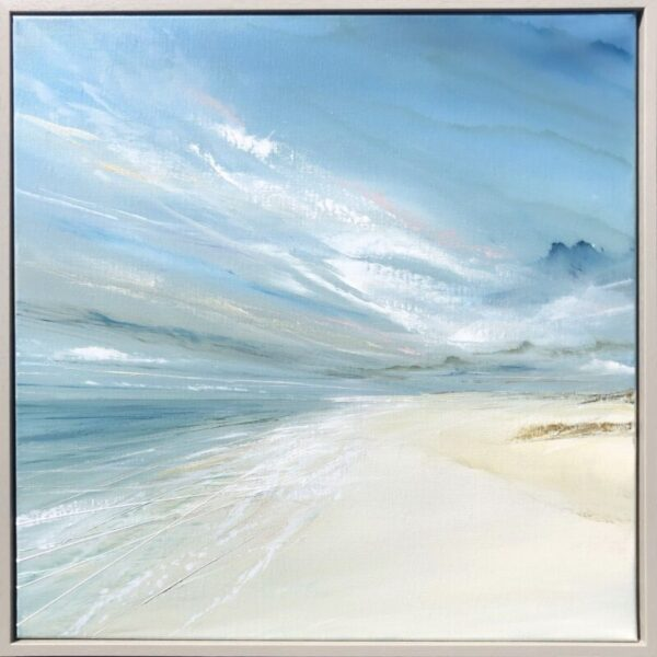 beach painting with blue sky clouds and sand