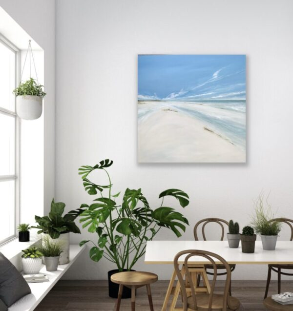large seascape beach painting in a contemporary setting